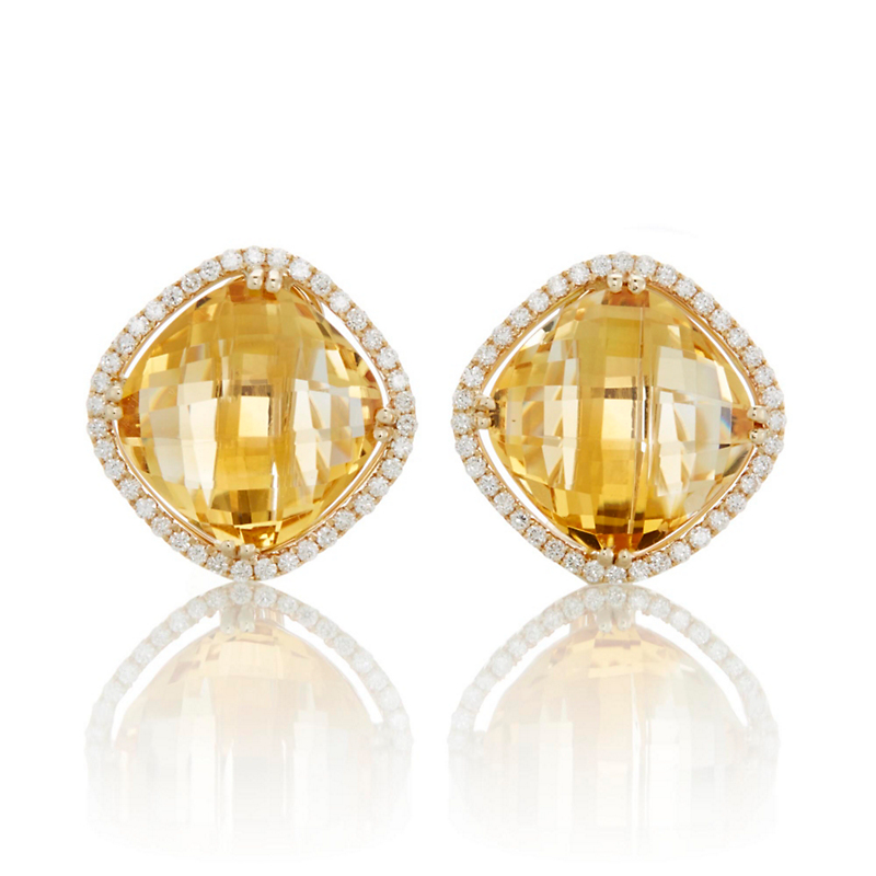 Checkerboard Citrine and Diamond Earrings