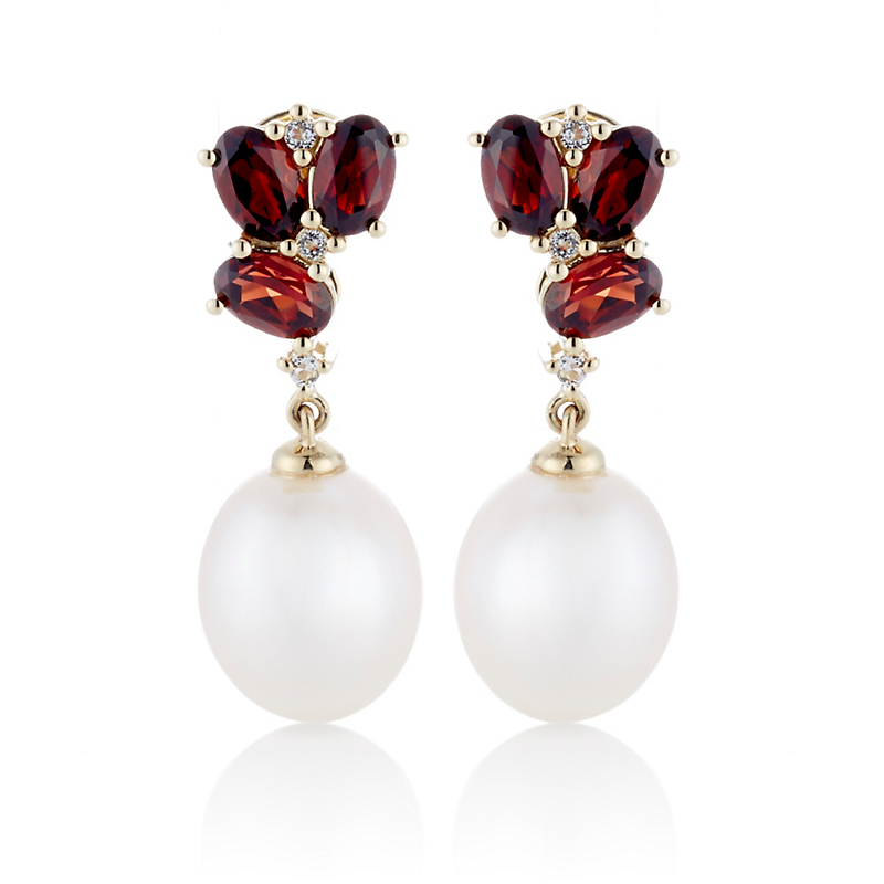 Gump's Garnet & Diamond Cluster With Pearl Drop Earrings