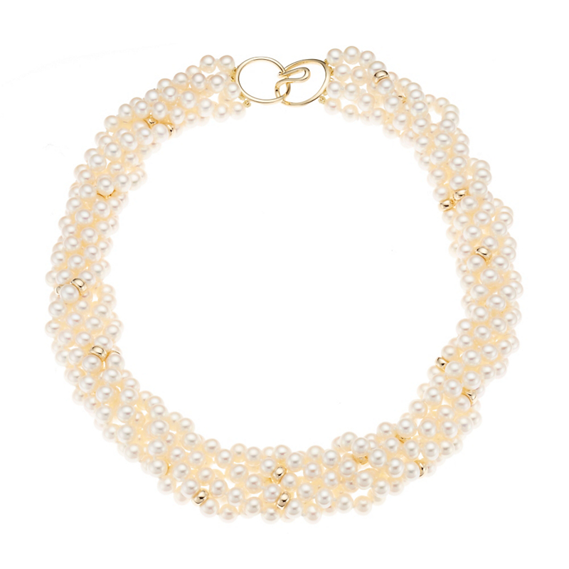 Gump's Six Strand Round Pearl Twist Necklace