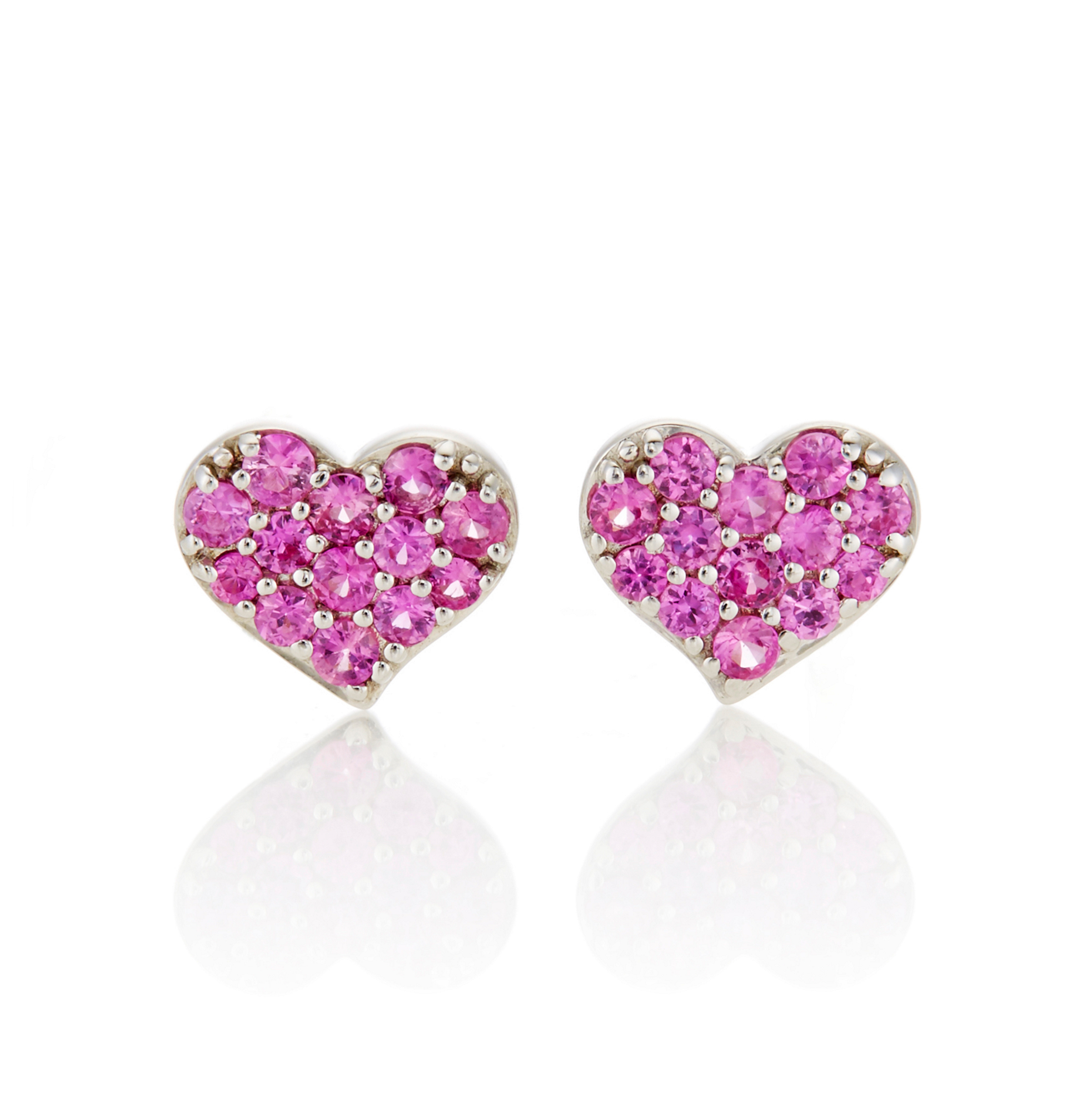 Gump's Pink Sapphire Heart Stud Earrings