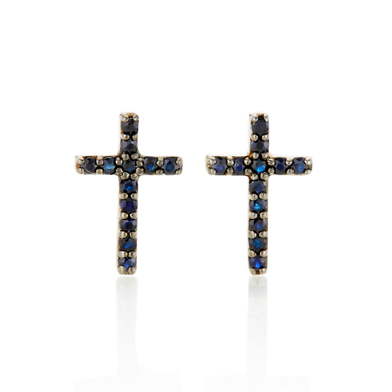 Gump's Black Sapphire Cross Stud Earrings