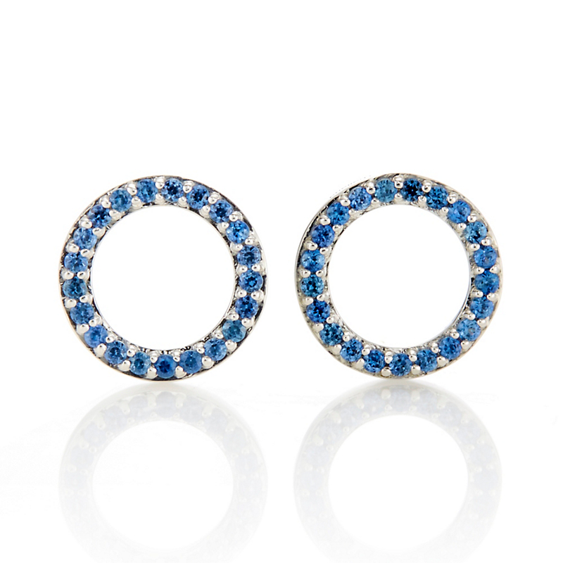 Gump's Blue Sapphire Circle Stud Earrings