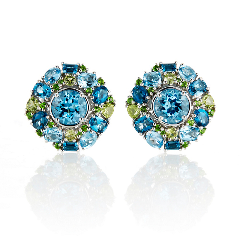 Gump's Peridot & Swiss Blue Topaz Cluster Earrings