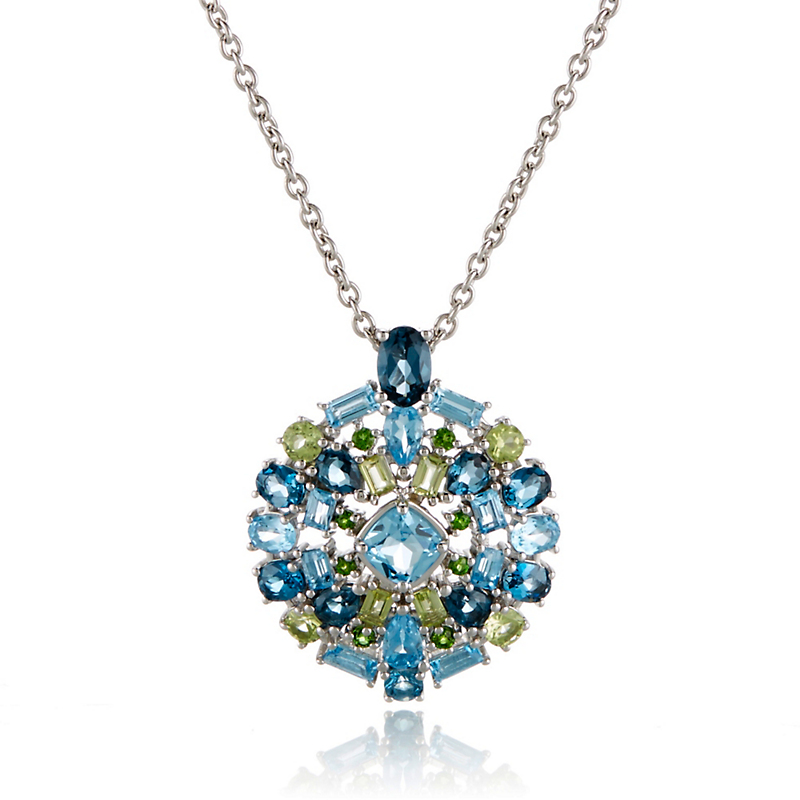 Gump's Swiss Blue Topaz & Peridot Cluster Silver Necklace