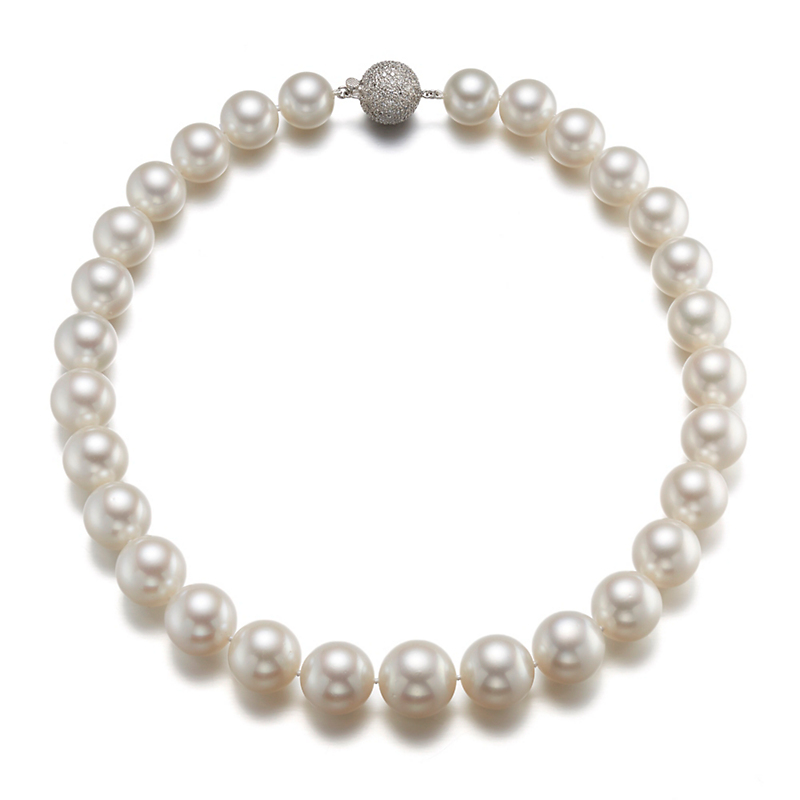 Gump's Graduated White South Sea Pearl Pavé Diamond Clasp Necklace