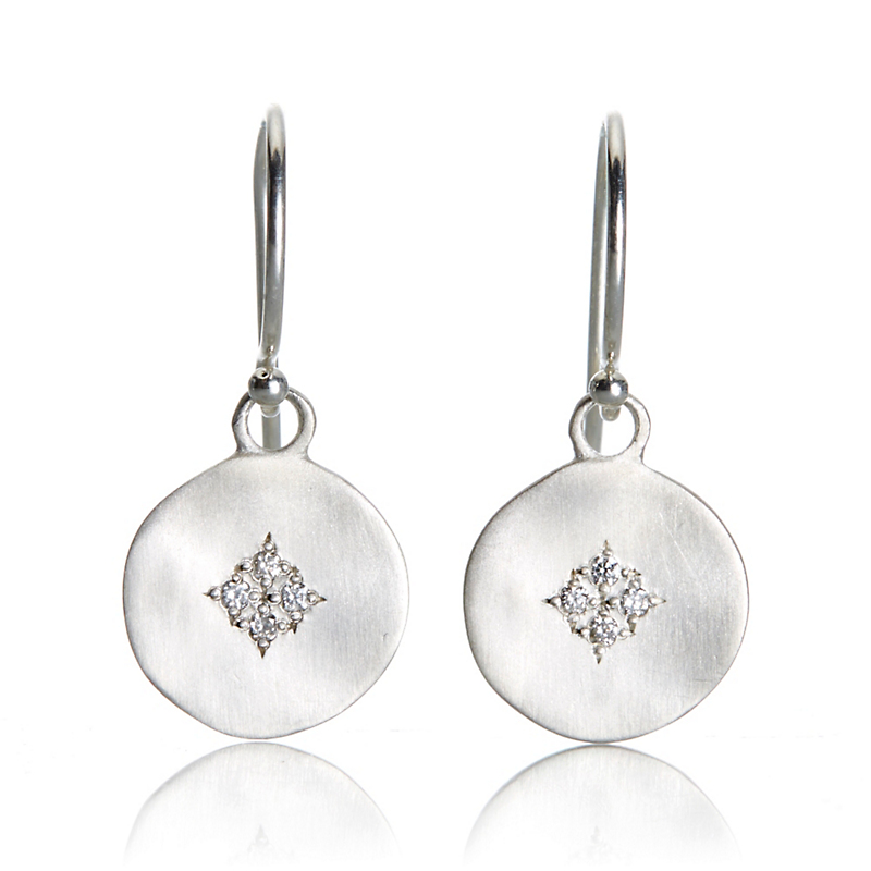 Adel Chefridi Four Star Wave Diamond Silver Drop Earrings