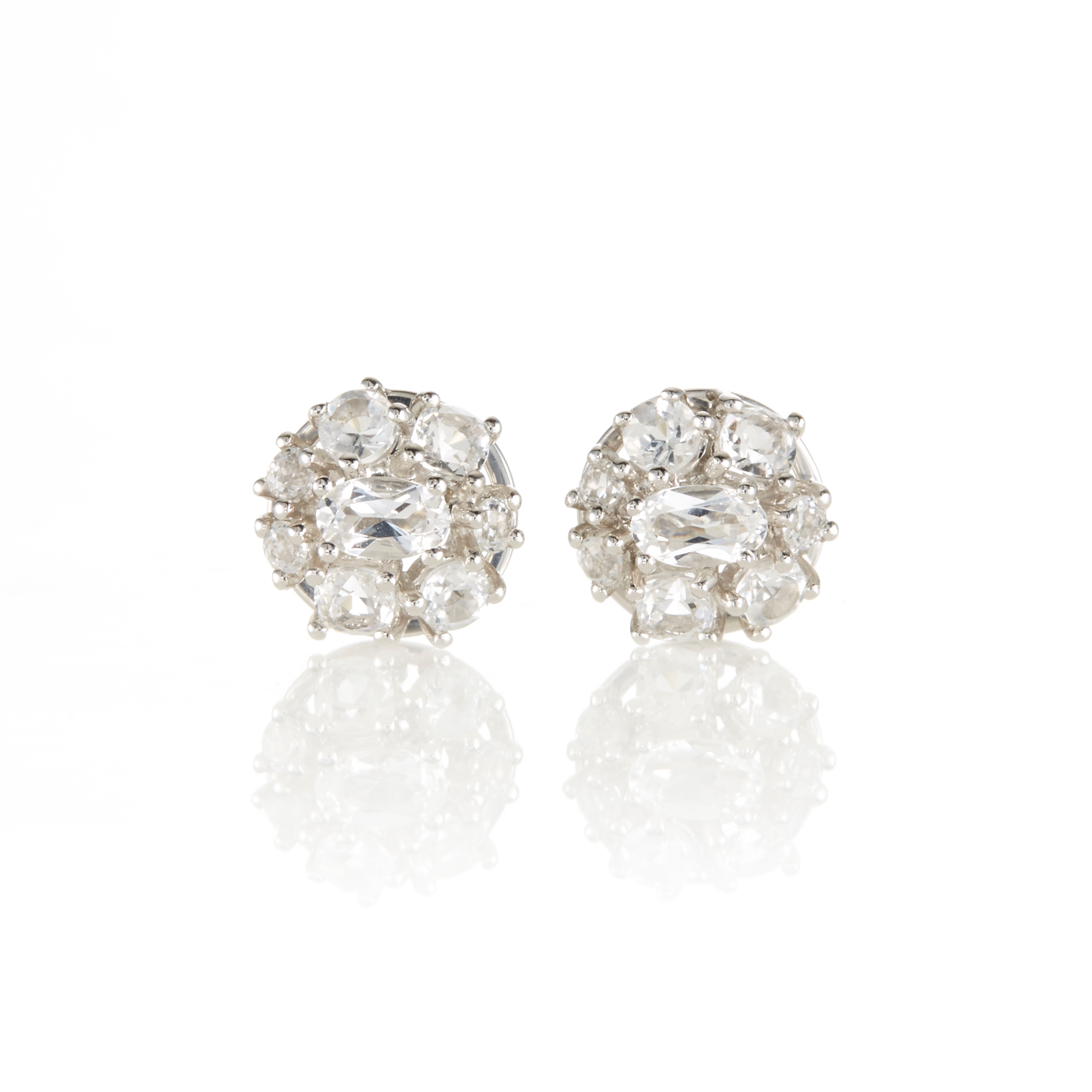 Gump's White Topaz Cluster Stud Earrings