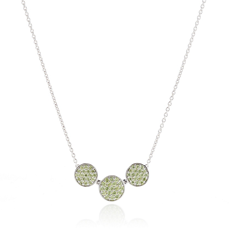 Gump's Peridot Triple Round Sterling Silver Necklace