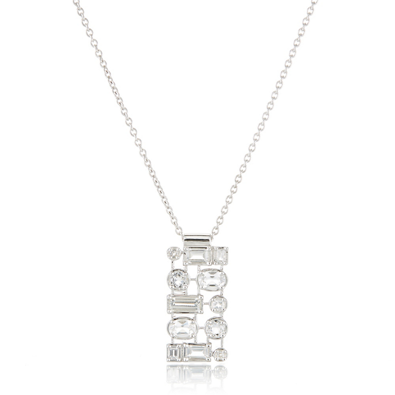 Gump's White Topaz Grid Silver Necklace