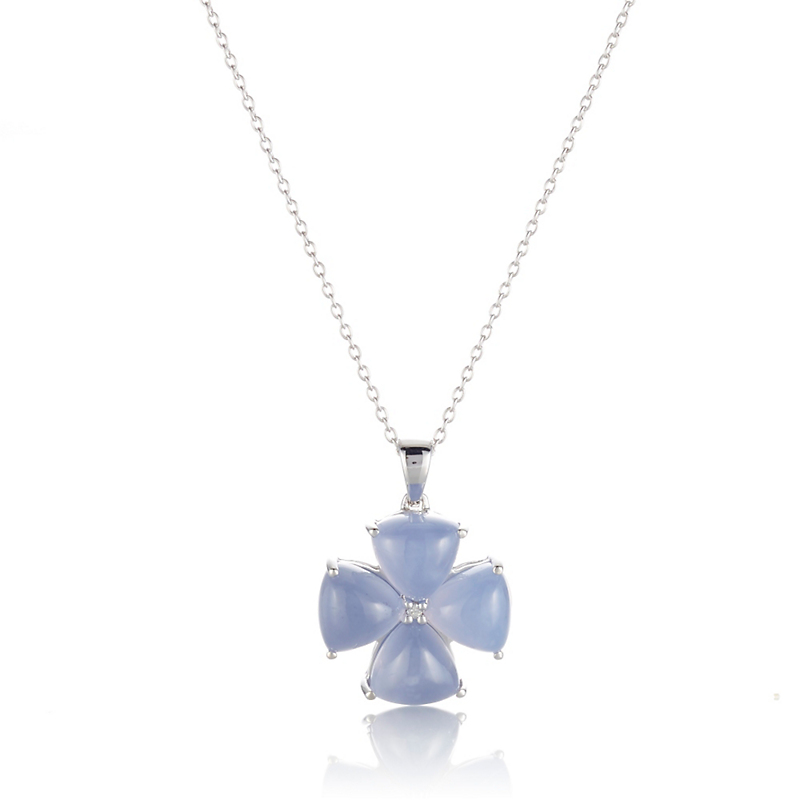 Gump's Chalcedony Diamond Flower Silver Pendant Necklace