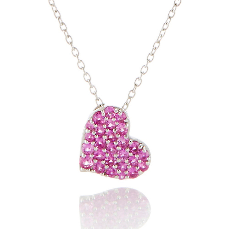 Gump's Pink Sapphire Heart Silver Pendant Necklace