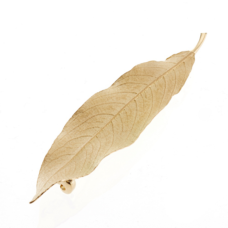 Large Textured Matte Leaf Brooch