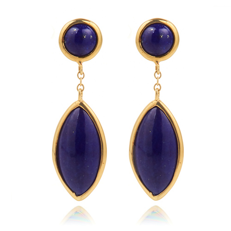 Lapis Round & Marquise Drop Earrings