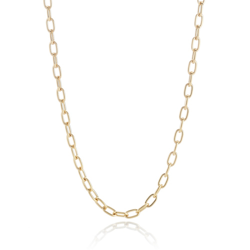 Gold Oval Chain Necklace, 24""