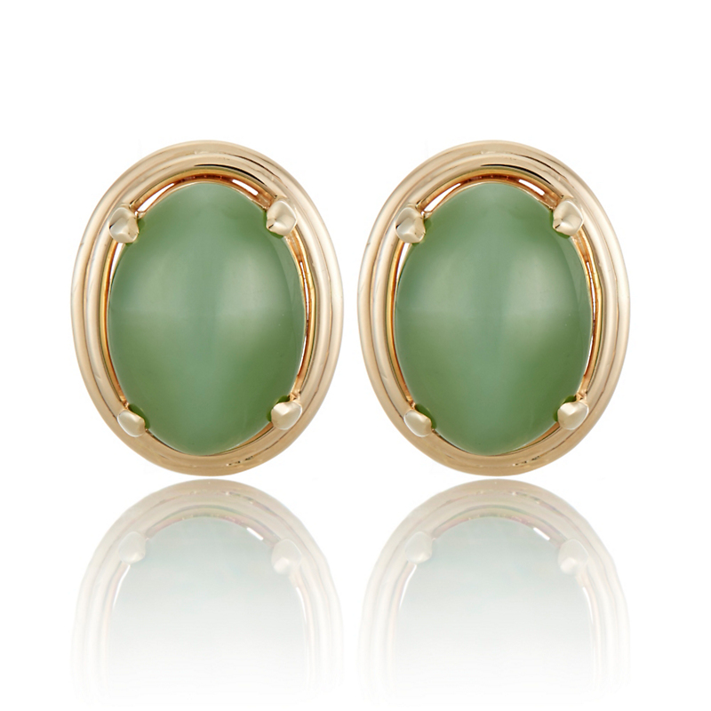 Gump's Green Nephrite Jade Cat's Eye Cabochon Earrings