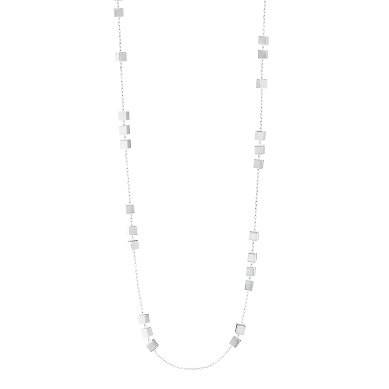 Georg Jensen Sterling Silver Aria Sautoir Cube Necklace