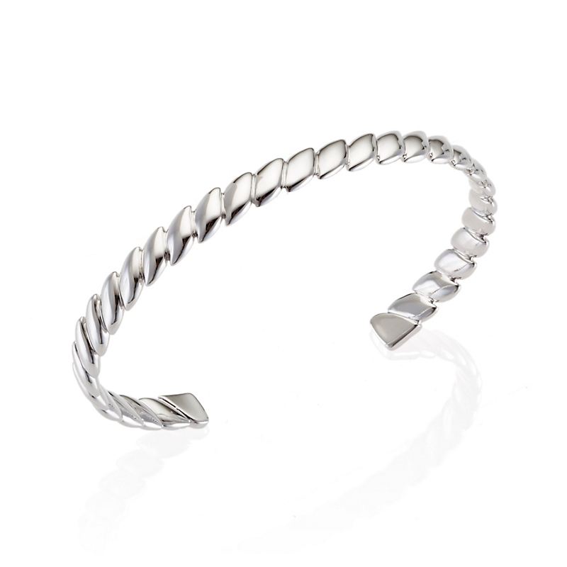 Sterling Silver Polished Ridged Cuff