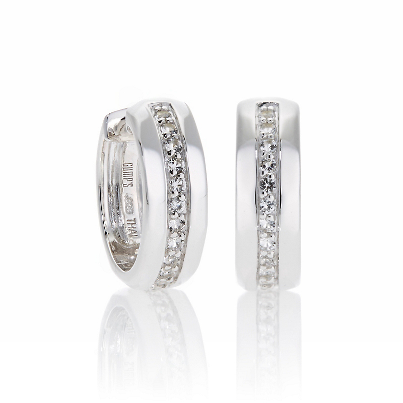 Sterling Silver Pavé White Topaz Hoop Earrings