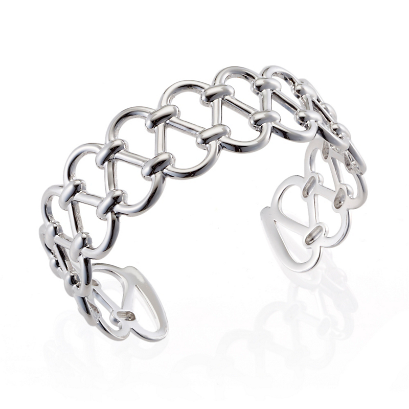 Sterling Silver Openwork Scalloped Cuff