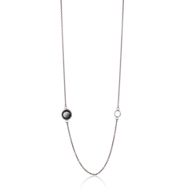 Sterling & Oxidized Silver White Topaz Black Spinel Necklace