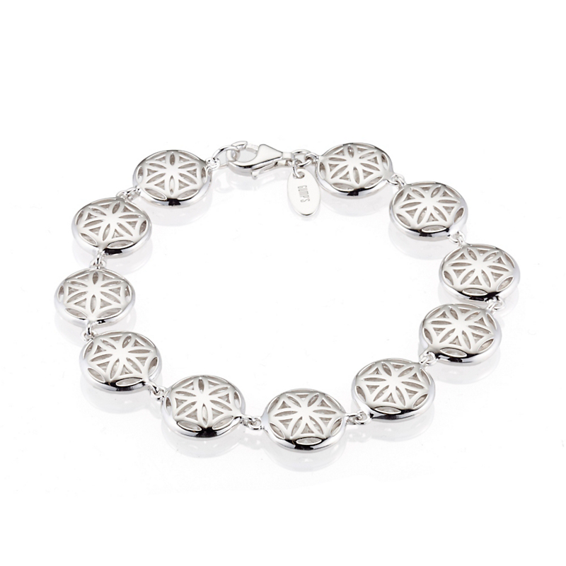 Sterling Silver Floral Lattice Rounds Bracelet