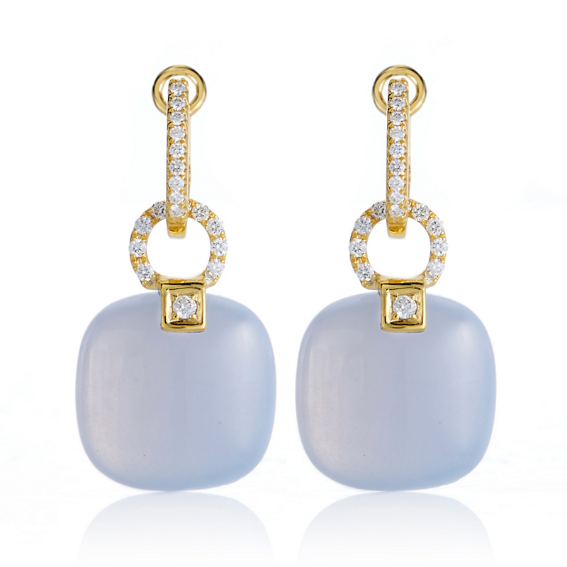 Smooth Chalcedony And Diamond Hoop Earrings
