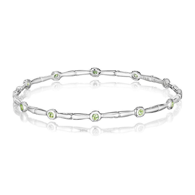 Peridot Silver Bamboo Bangle