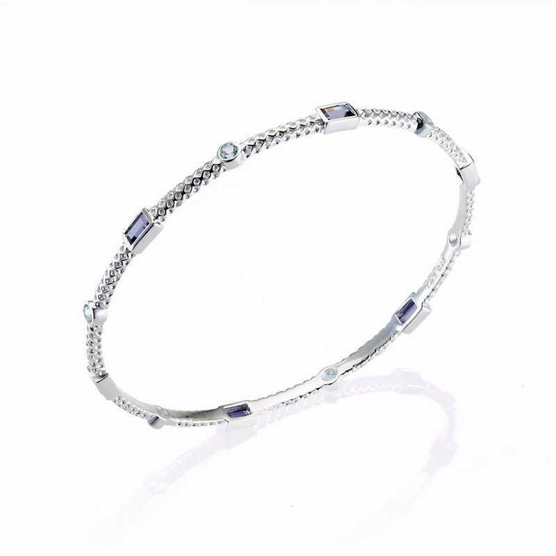 Iolite & Blue Topaz Textured Silver Bangle
