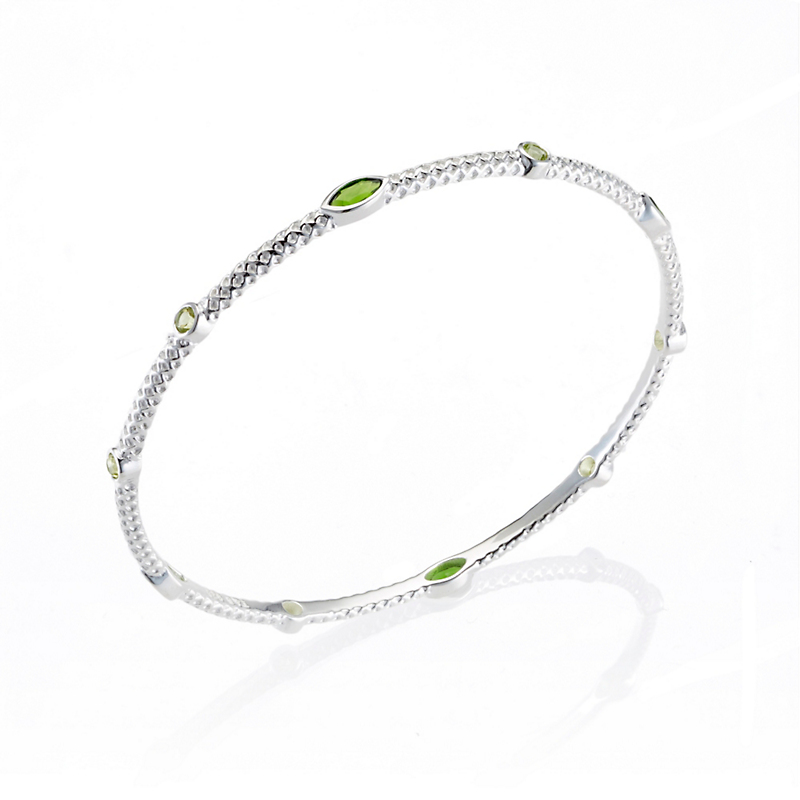Chrome Diopside & Peridot Textured Silver Bangle