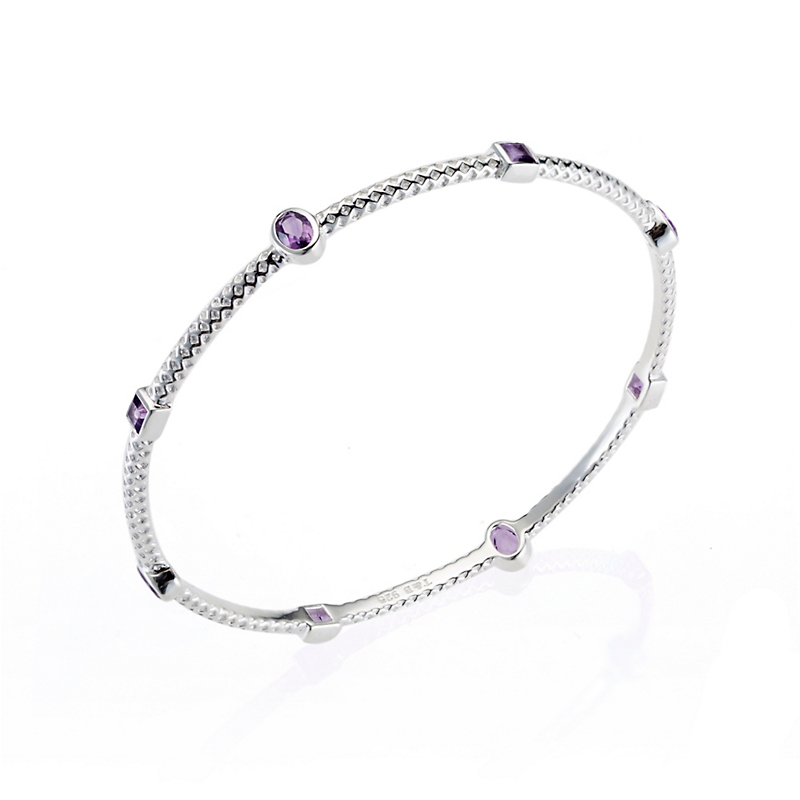 Amethyst Textured Silver Bangle