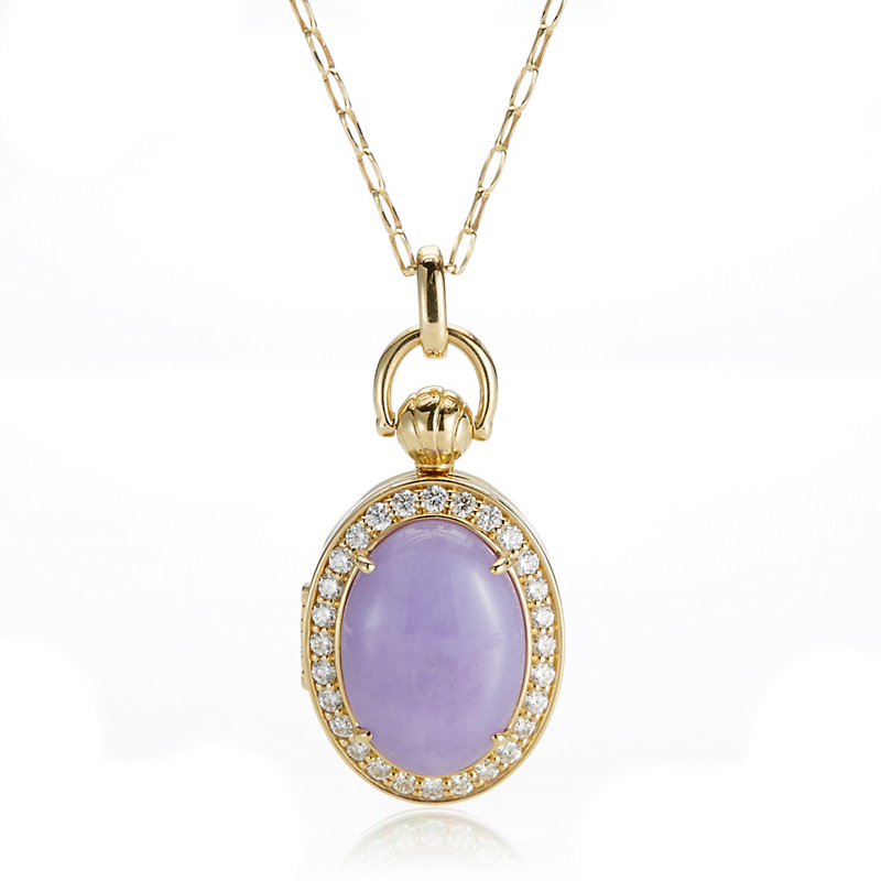 Monica Rich Kosann Lavender Jade & Diamond Oval Locket Pendant Necklace