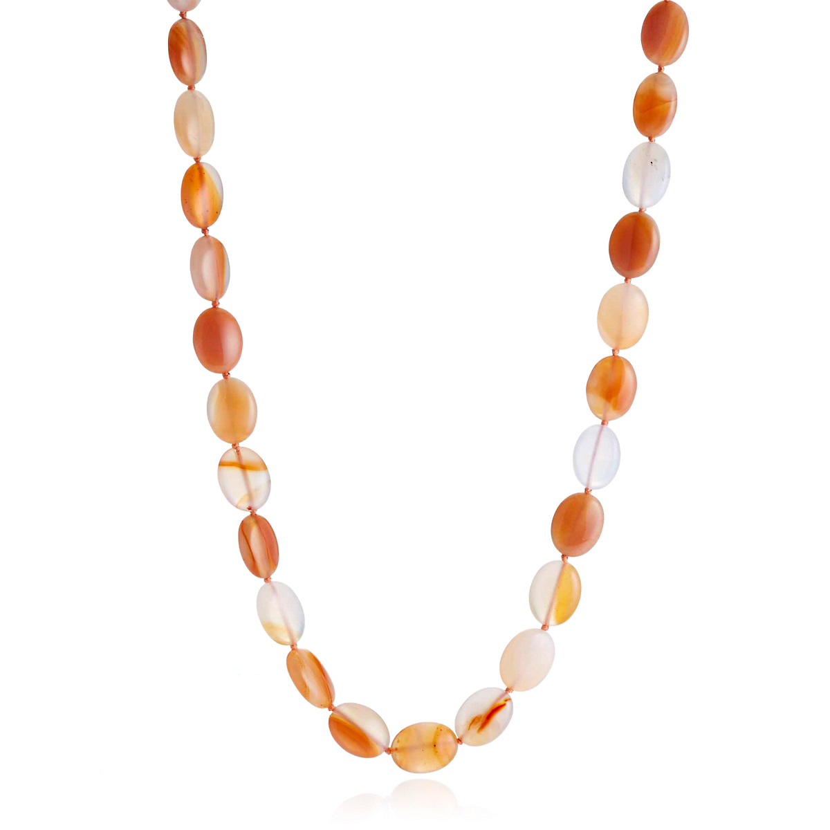 Gump's Orange Multi Agate Oval Necklace