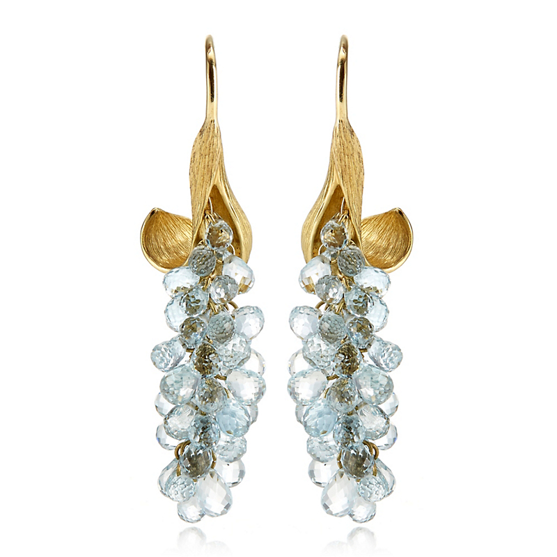 Gump's Aquamarine Briolette Leaf Earrings