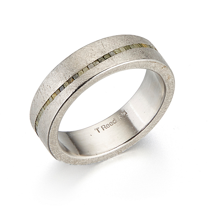 Todd Reed Raw Diamonds In A Wavy Line Palladium Band Ring