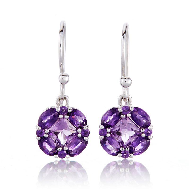 Gump's Multi Amethyst Quadrille Drop Earrings