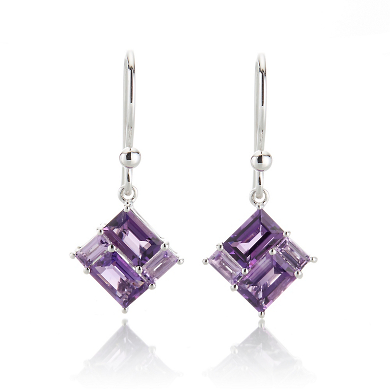 Gump's Multi Amethyst Mosaic Drop Earrings