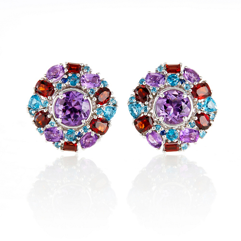 Gump's Garnet, Amethyst, & Blue Topaz Mosaic Cluster Earrings