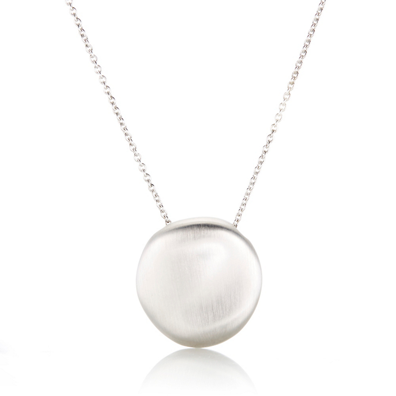 Gump's Large Brushed Sterling Silver Pebble Necklace