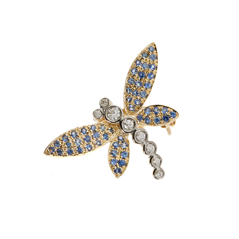 Blue Sapphire and Diamond Dragonfly Brooch