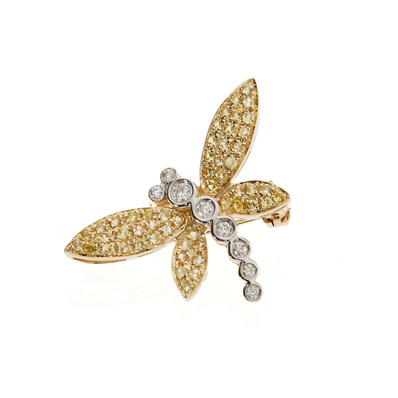 Yellow Sapphire and Diamond Dragonfly Brooch