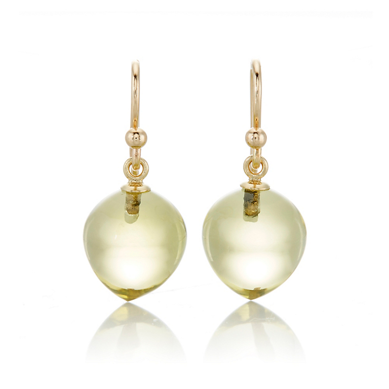 Gump's Lemon Quartz Peach Drop Earrings