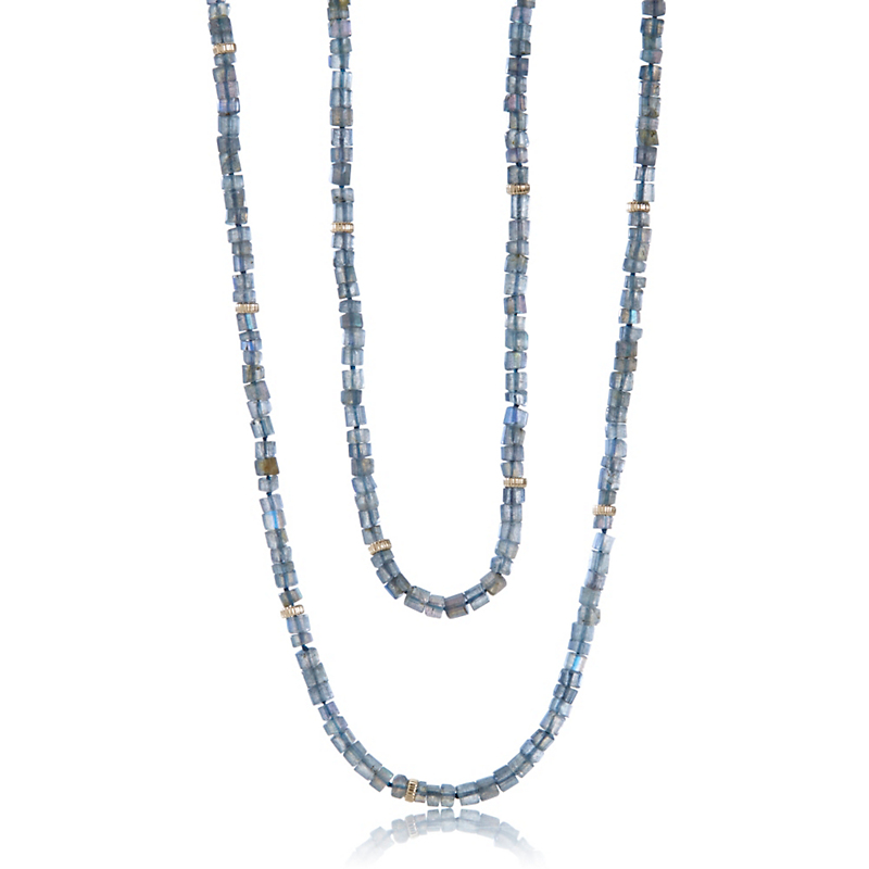 Gump's Faceted Labradorite & Gold Rope Necklace
