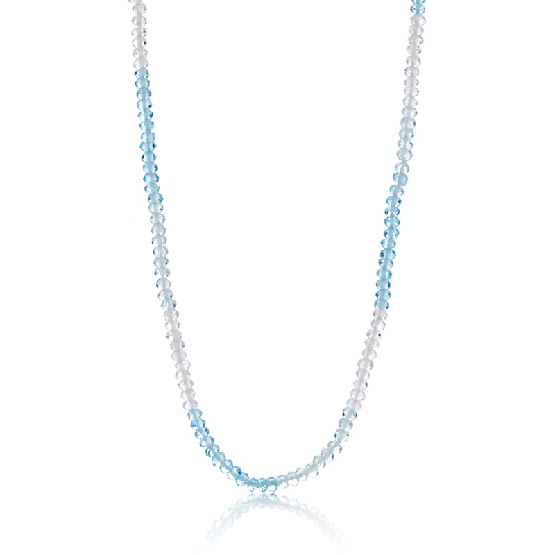 Gump's Faceted Blue & White Striped Topaz Rope Necklace