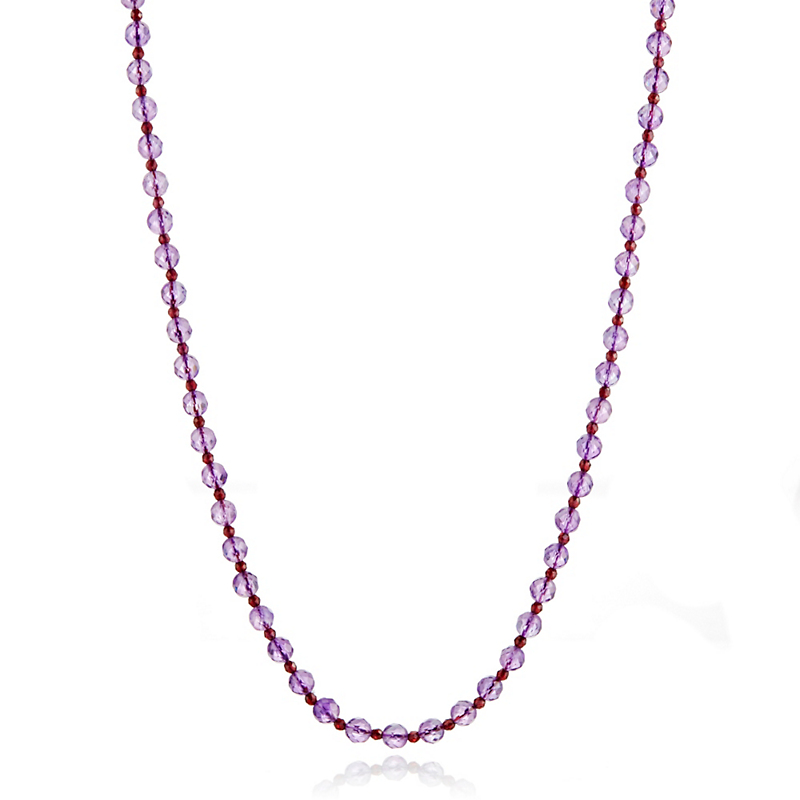 Gump's Faceted Garnet & Amethyst Rope Necklace