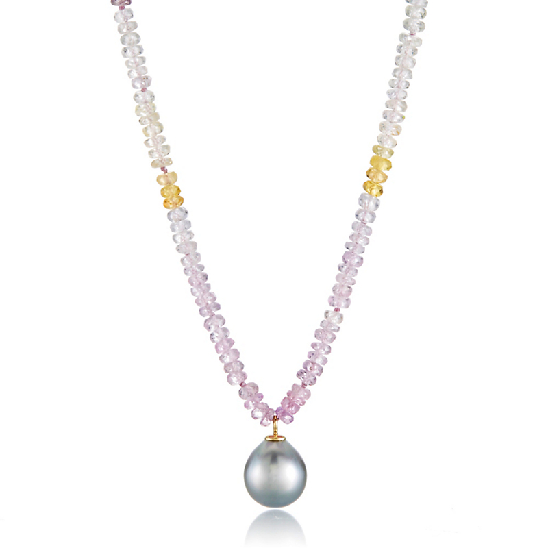 Gump's Multi-Color Pastel Faceted Sapphire & Tahitian Pearl Necklace