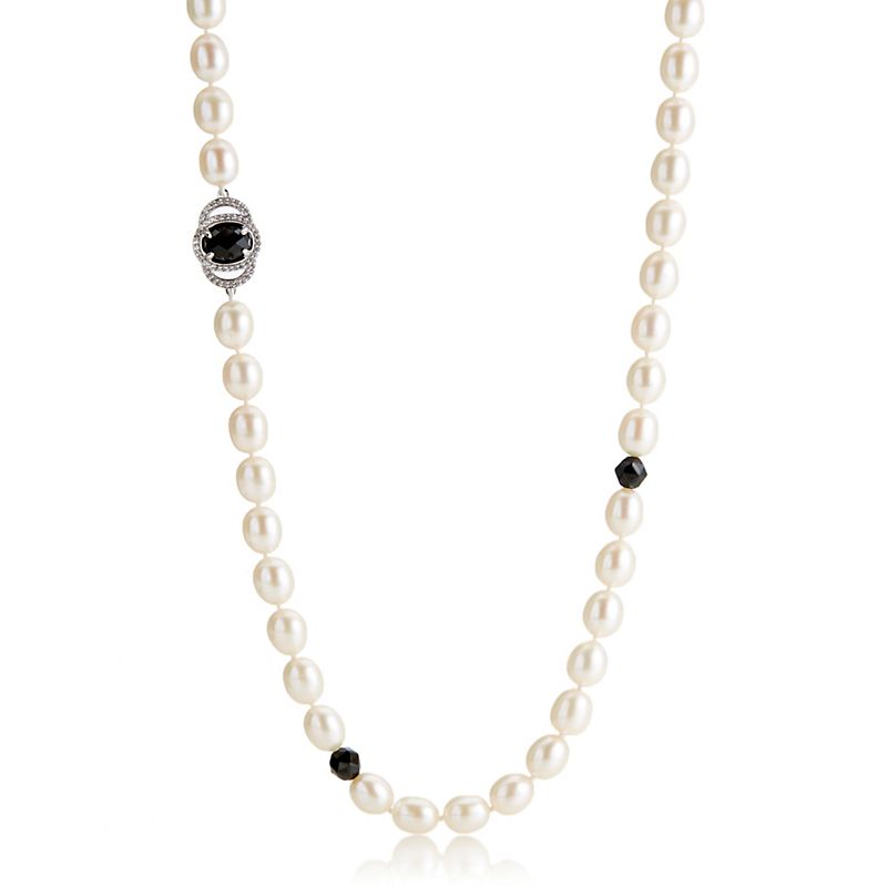 Gump's Pearl Rope With Onyx & White Topaz