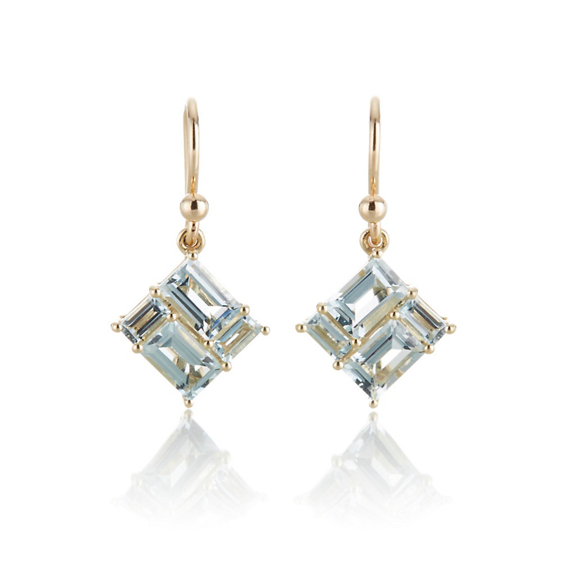 Aquamarine Mosaic Drop Earrings