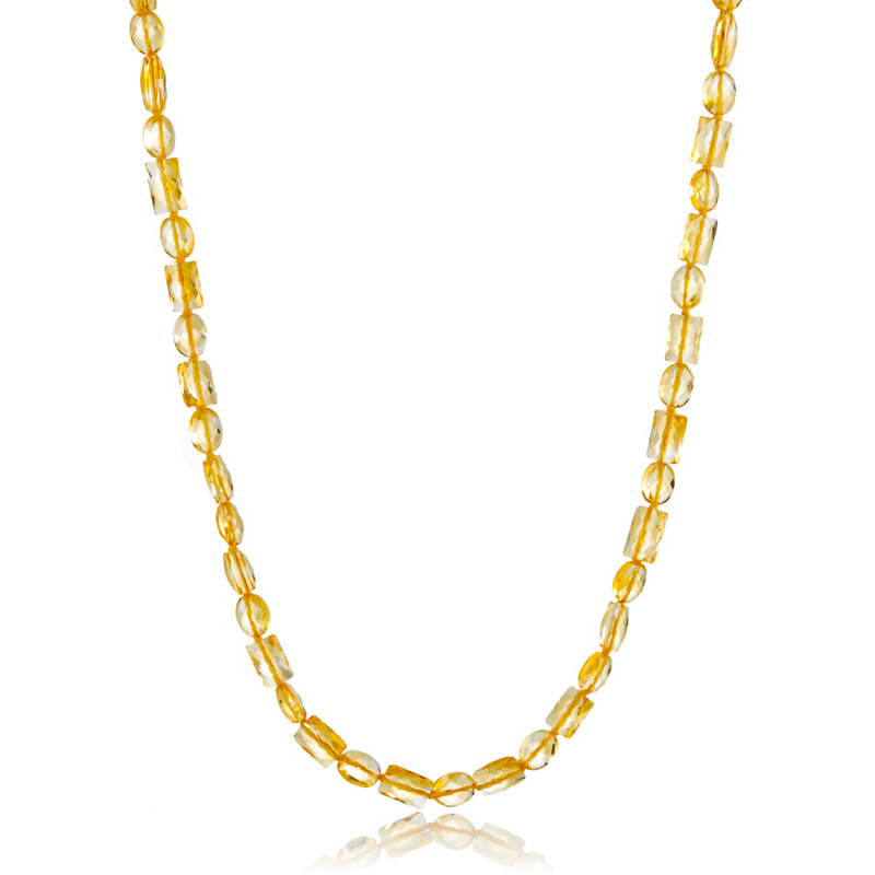 Gump's Rectangular & Oval Citrine Rope Necklace