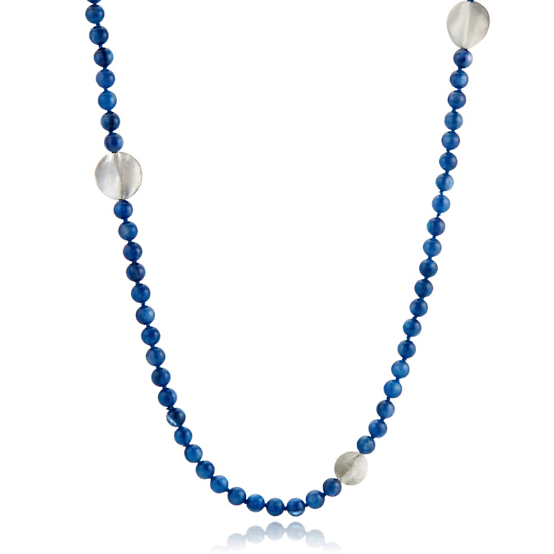 Gump's Kyanite & Textured Silver Disc Rope Necklace