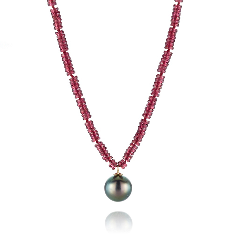 Gump's Faceted Garnet With Tahitian Pearl Pendant Necklace